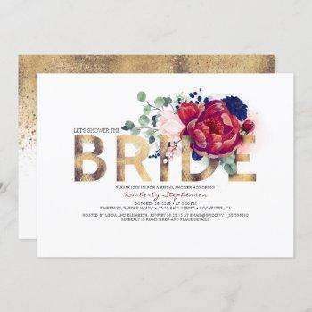 burgundy red and navy blue floral bridal shower invitation