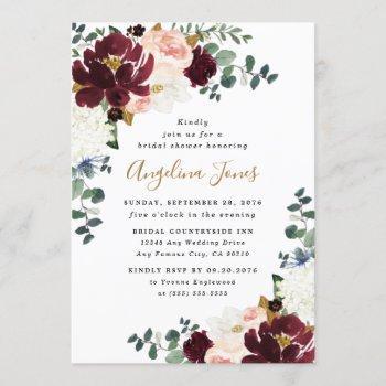 burgundy red blush pink and gold bridal shower invitation