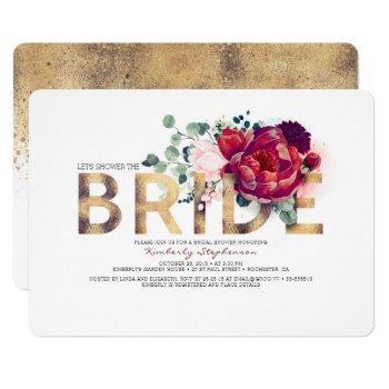 burgundy red floral gold glitter bridal shower invitation