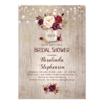 Burgundy Red Floral Mason Jar Rustic Bridal Shower Invitation Front View