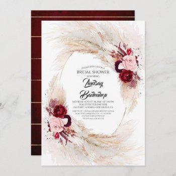 burgundy red floral pampas grass bridal shower invitation
