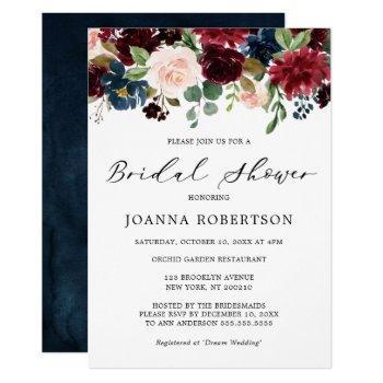 burgundy red navy blue floral bridal shower invitation