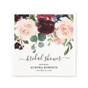 burgundy red navy blush floral bridal shower paper napkins