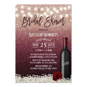 burgundy red rose gold wine bottle bridal shower invitation