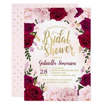 burgundy red wine pink roses bridal shower invitation