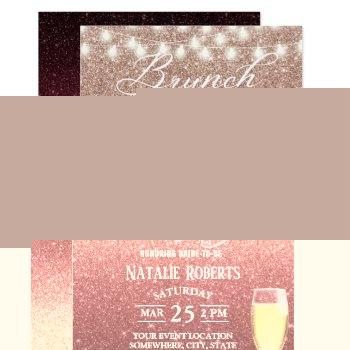 burgundy & rose gold ombre modern bridal brunch invitation