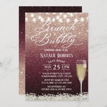 burgundy & rose gold ombre modern bridal brunch invitation