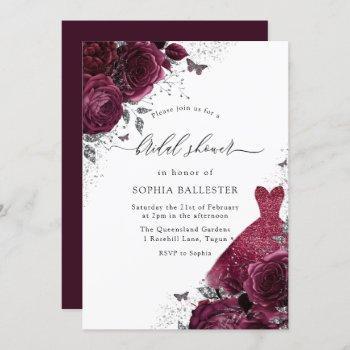 burgundy silver dress & floral roses bridal shower invitation