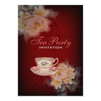 burgundy vintage peony floral wedding tea party invitation