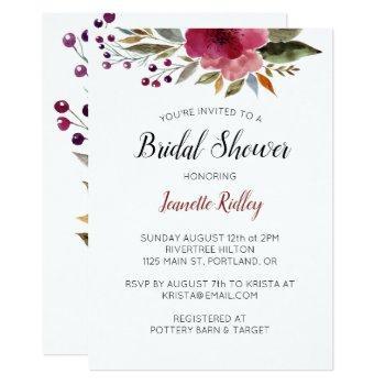 burgundy watercolor flowers bridal shower invitation