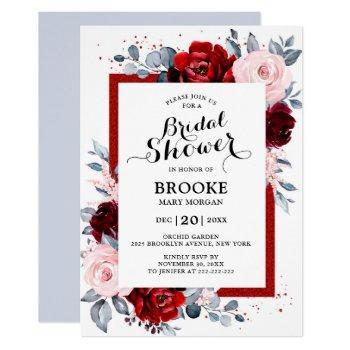 burgundy wine dusty blue slate bridal shower invitation