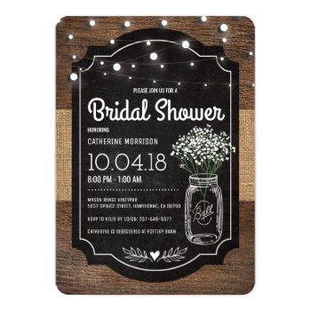 burlap baby breath wooden wedding bridal shower invitation