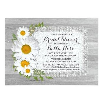 burlap floral daisy bridal shower invitations