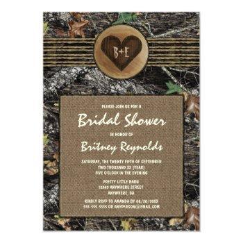 burlap + hunting camo bridal shower invitations