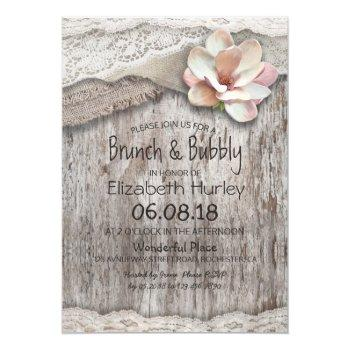 burlap lace floral brunch and bubbly bridal shower invitation