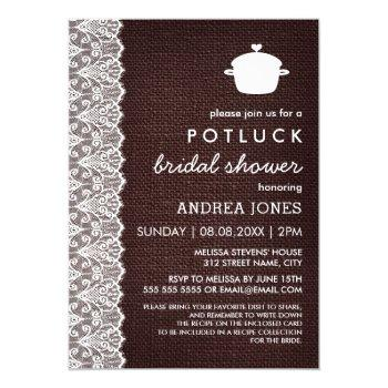 burlap & lace potluck bridal shower invitation