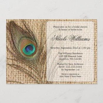burlap peacock feather bridal shower invitations