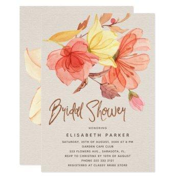 burnt orange fall watercolor floral bridal shower invitation