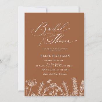 burnt orange wildflower bridal shower invitation