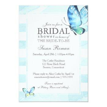 butterfly bridal shower, blue watercolor invitation