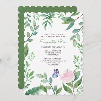 butterfly bridal shower invite, pink & blue invitation