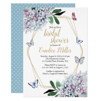 butterfly bridal shower invites blue purple pink