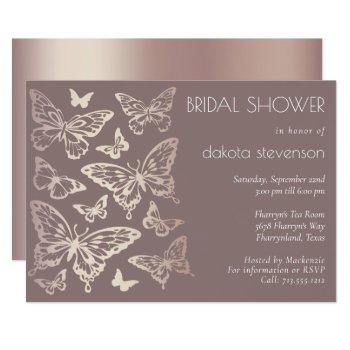 butterfly chic bridal shower | copper rose gold invitation