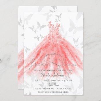 butterfly dance coral sparkle dress bridal shower invitation