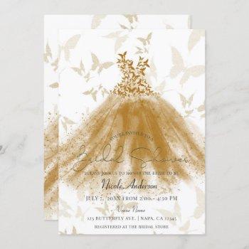 butterfly dance gold sparkle dress bridal shower invitation