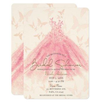 butterfly dance peach sparkle dress bridal shower invitation