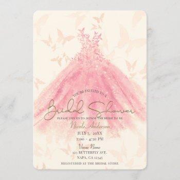 butterfly dance peach sparkle dress bridal shower invitation