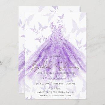 butterfly dance purple dress bridal shower invitation