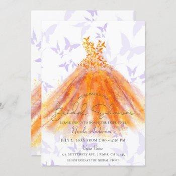 butterfly dance purple orange dress bridal shower invitation