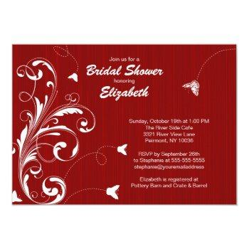 butterfly flourish bridal shower invite red