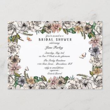 butterfly garden bridal shower invitation
