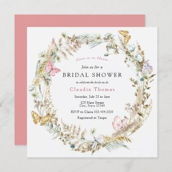 butterfly on the way boho bridal shower invitation