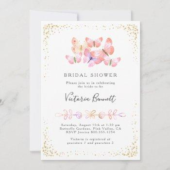 butterfly skies coral gold confetti bridal shower invitation