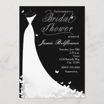 butterfly wedding dress bridal shower invitation