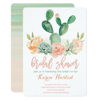 cactus bridal shower invitation succulent pink
