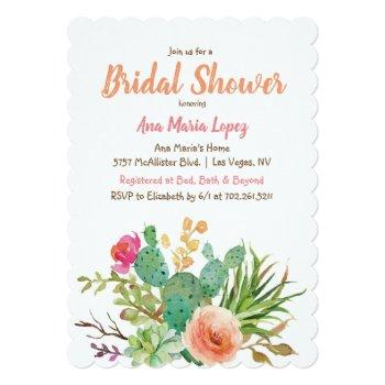 cactus succulent floral bridal shower invitation