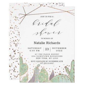 cactus & succulents geometric chic bridal shower invitation