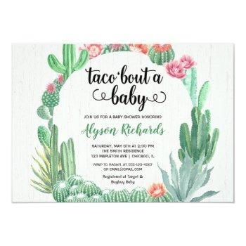 cactus succulents, taco bout a baby shower girl invitation
