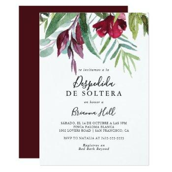 calligraphy tropical floral spanish bridal shower invitation