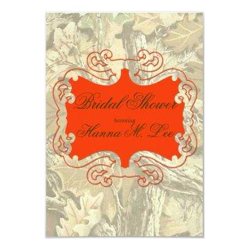 camo elegant orange bridal shower invitation