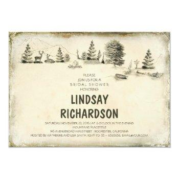 campground illustration camping bridal shower invitation