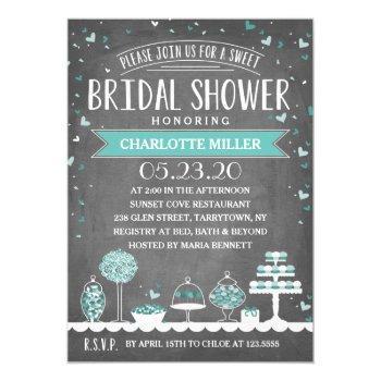candy bar | bridal shower | teal invitation