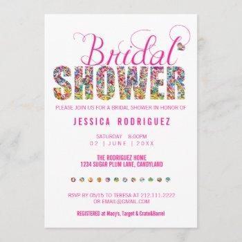 candy theme bridal shower party invitation