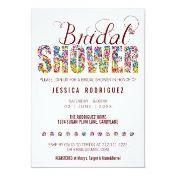 candy theme custom color bridal shower party invitation