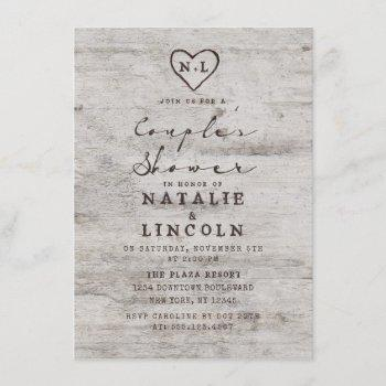 carved sweethearts rustic couple's wedding shower invitation