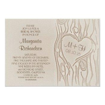 carved tree rustic bridal shower invitations